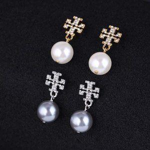 Tory Burch Diamond Pearl Earrings